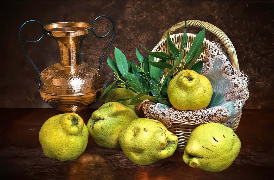 Фото бесплатно корзина, кувшин, груши, фрукты, еда, натюрморт, еда
