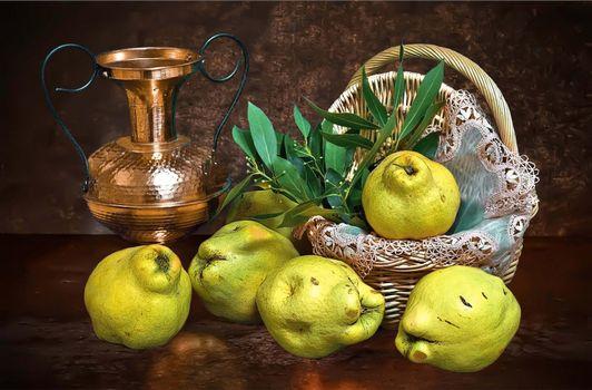 Фото бесплатно корзина, кувшин, груши, фрукты, еда, натюрморт