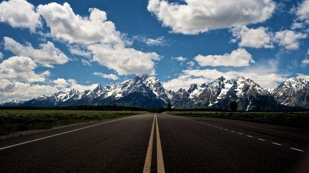 Фото бесплатно долгая дорога, поля, горы