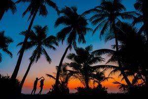 Фото бесплатно Мальдивы, восход, влюблённая пара