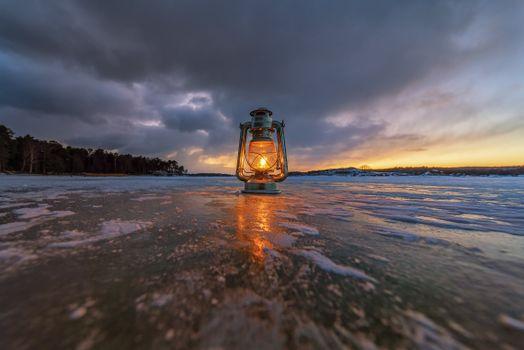 Photo free nature, ice, paraffin lamp