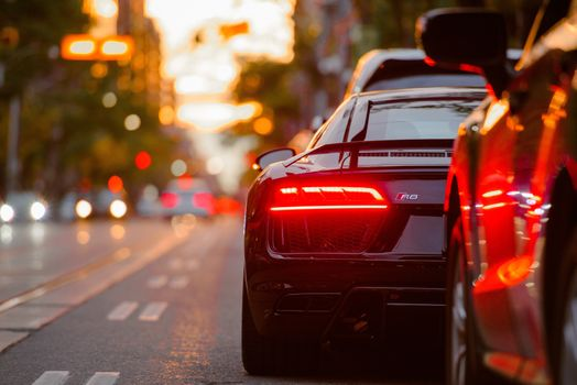 Photo free view from behind, Audi R8 Headlight, boke