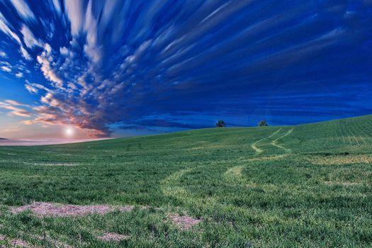 Фото бесплатно облака, поле, вечер