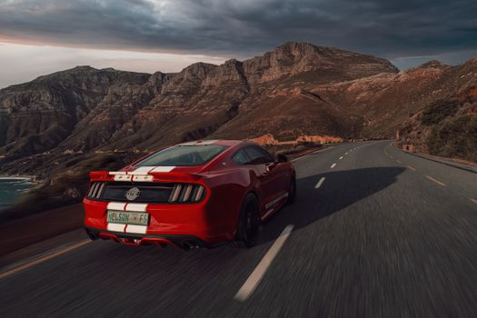 Photo free cars, Ford Mustang, in move