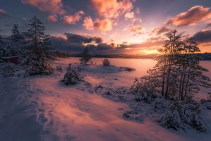 Бесплатные фото Ringerike,Norway,закат,зима,озеро,деревья,домик