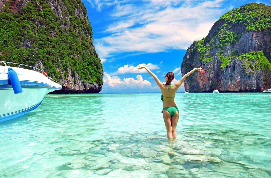 Фото бесплатно Таиланд, море, острова, девушка, лодки, отдых, пейзажи