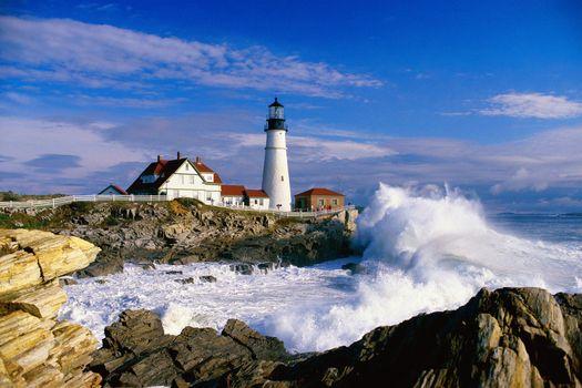 Бесплатные фото Маяк,Мыс Элизабет,Мэн Портленд-Харбор,Залив Мэн,Portland Head Lighthouse