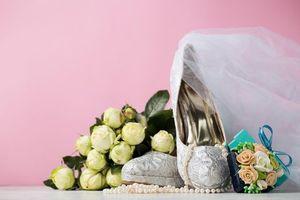 Бесплатные фото свадьба, подарки, бусы, украшение, букет, туфли, фата