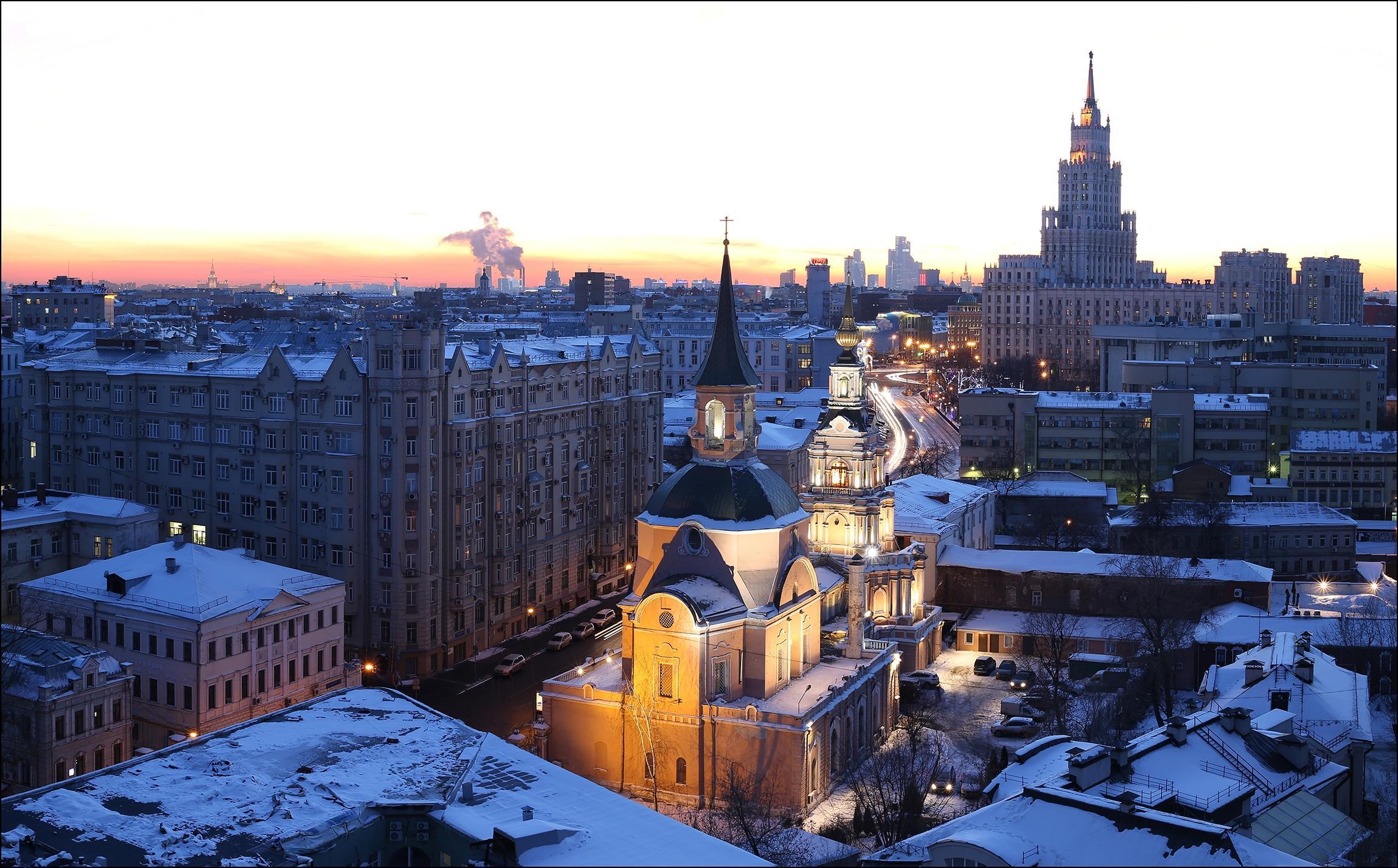 Обои Зимний закат по улице Новая Басманная, Москва, Россия