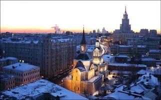 Фото бесплатно Зимний закат по улице Новая Басманная, Москва, Россия