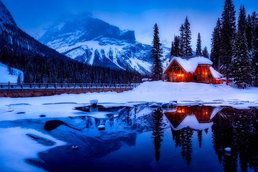 Заставки горы, закат, дом