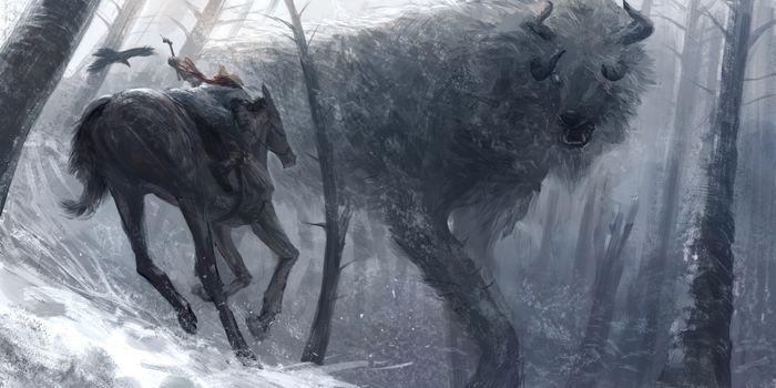 Фото бесплатно зима, лошадь, рога