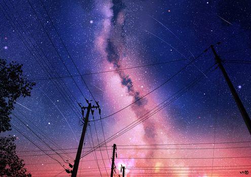 Photo free anime landscape, night, starry sky