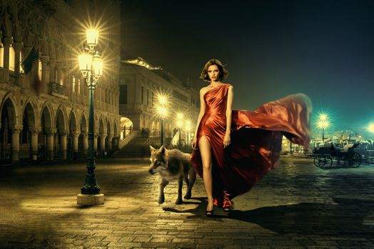 A girl and a wolf in the night city
