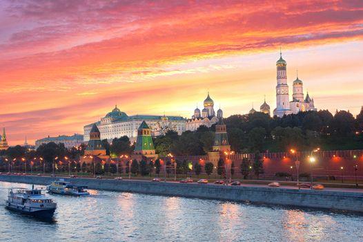 Заставки закат, the Moscow Kremlin, город