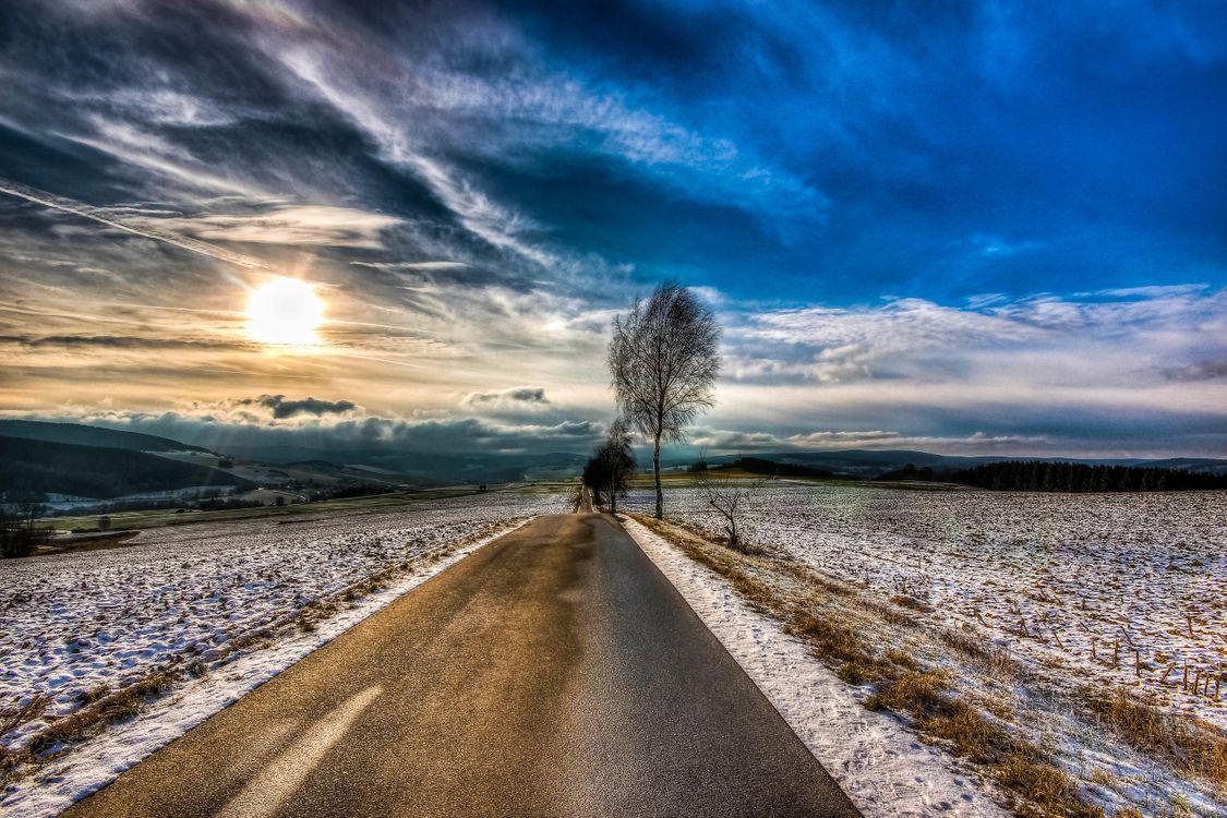 Фото бесплатно поле, дорога, деревья, закат, пейзаж, пейзажи