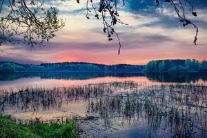 Заставки закат солнца, озеро, лес, деревья, пейзаж