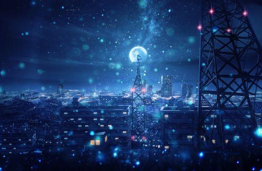 Фото бесплатно живописный, луна, девушка