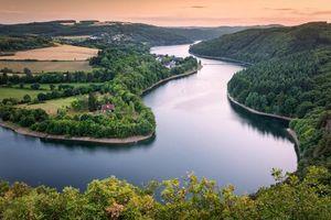 Бесплатные фото Люксембург,Арденны,закат,река,поля,деревья дома,пейзаж