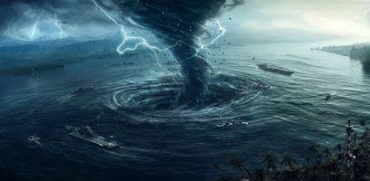 Обои море, город, шторм, смерч, молния, корабли, фантастика, фэнтези, art
