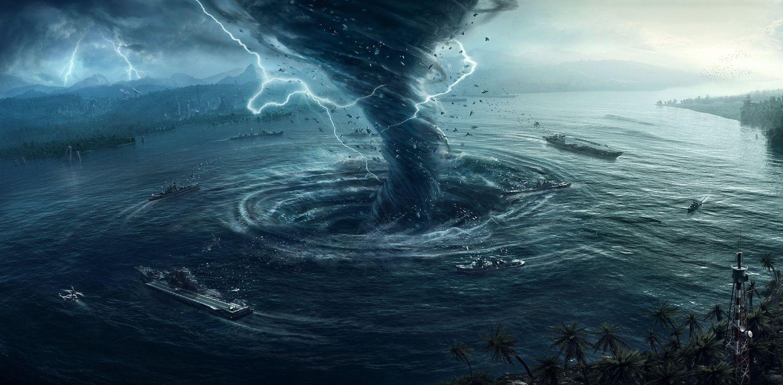 Фото бесплатно море, город, шторм, смерч, молния, корабли, фантастика, фэнтези, art, фантастика