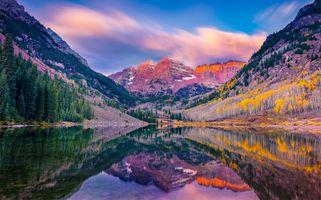 Photo free Maroon Bells Lake, Colorado, mountains