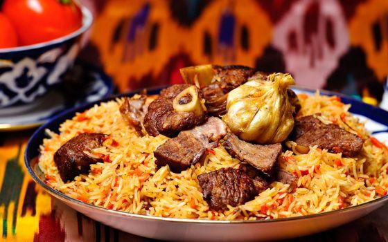 Фото бесплатно мясо, чеснок, рис