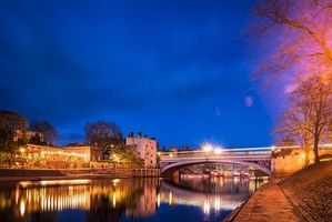 Бесплатные фото Великобритания, Нью-Йорк, ночь, река, канал, мост, город