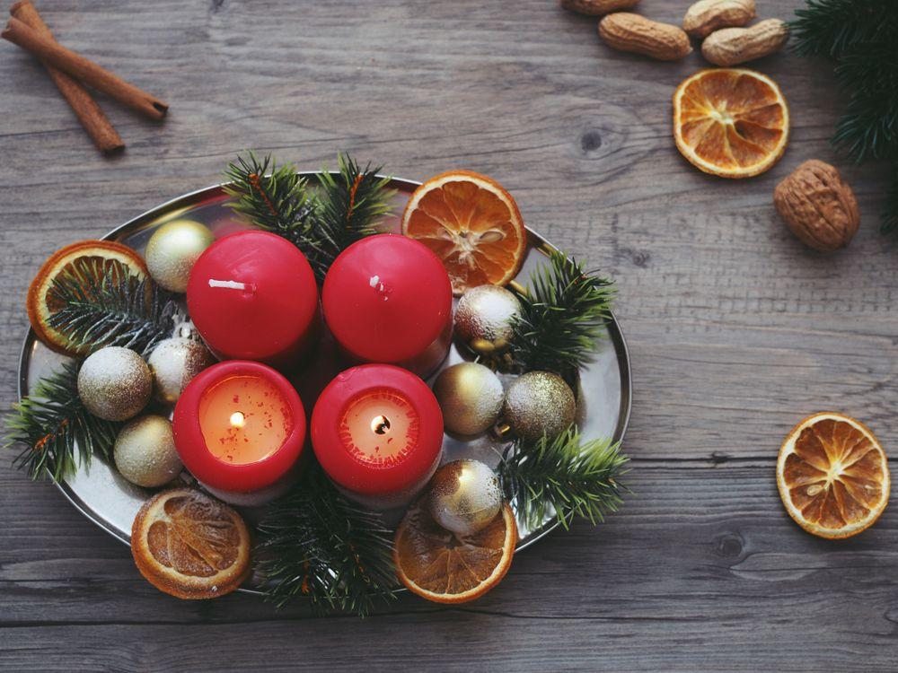 Фото бесплатно свечи, Рождество, ель, апельсины, candles, christmas, spruce - на рабочий стол