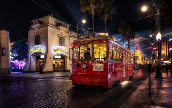 Photo free film set, tram, buildings