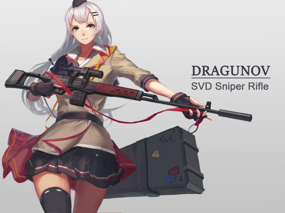 Обои фронтовой девочки, СВД, снайперская винтовка картинки на телефон