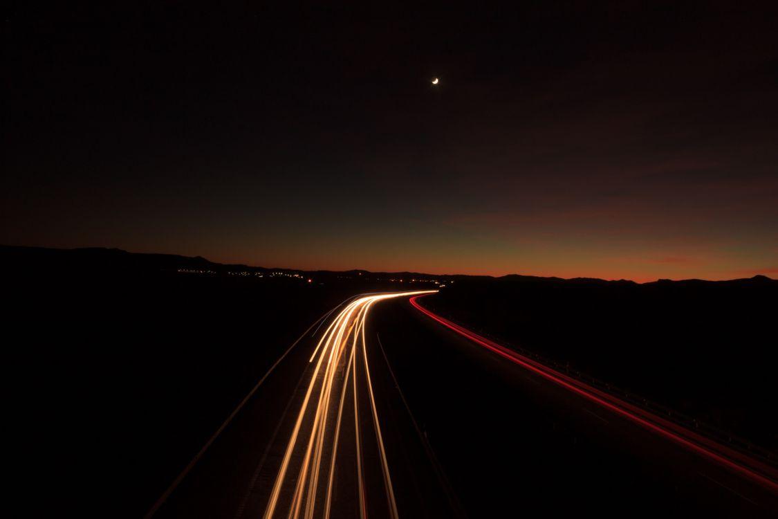 Фото бесплатно ночь, дорога, свет, поворот, road, light, turn, пейзажи
