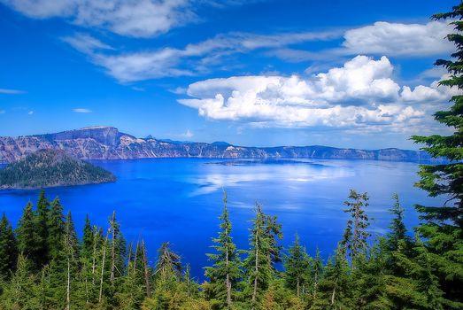 Фото бесплатно Crater Lake National Park, Oregon, озеро, деревья, небо, пейзаж