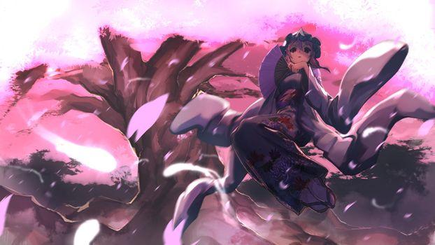 Фото бесплатно сайгедзи Ююко, кимоно, розовые волосы