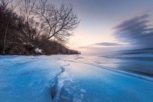 Фото бесплатно закат, озеро, зима