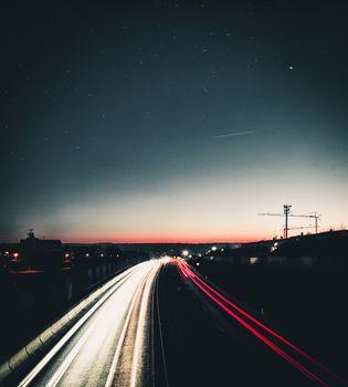 Бесплатные фото ночь,дорога,свет,поворот,небо,night,road,light,turn,sky