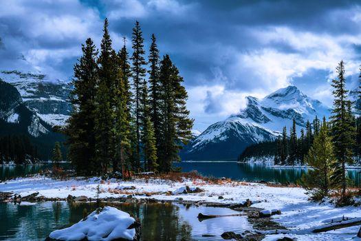 Фото бесплатно остров, Jasper National Park, пейзаж
