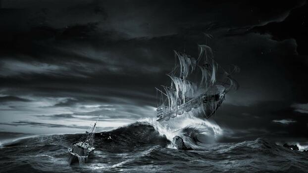 Photo free monochrome, sea, moonlight