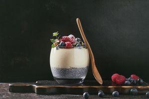 Обои мята, черника, десерт, завтрак, ягоды, малина, йогу