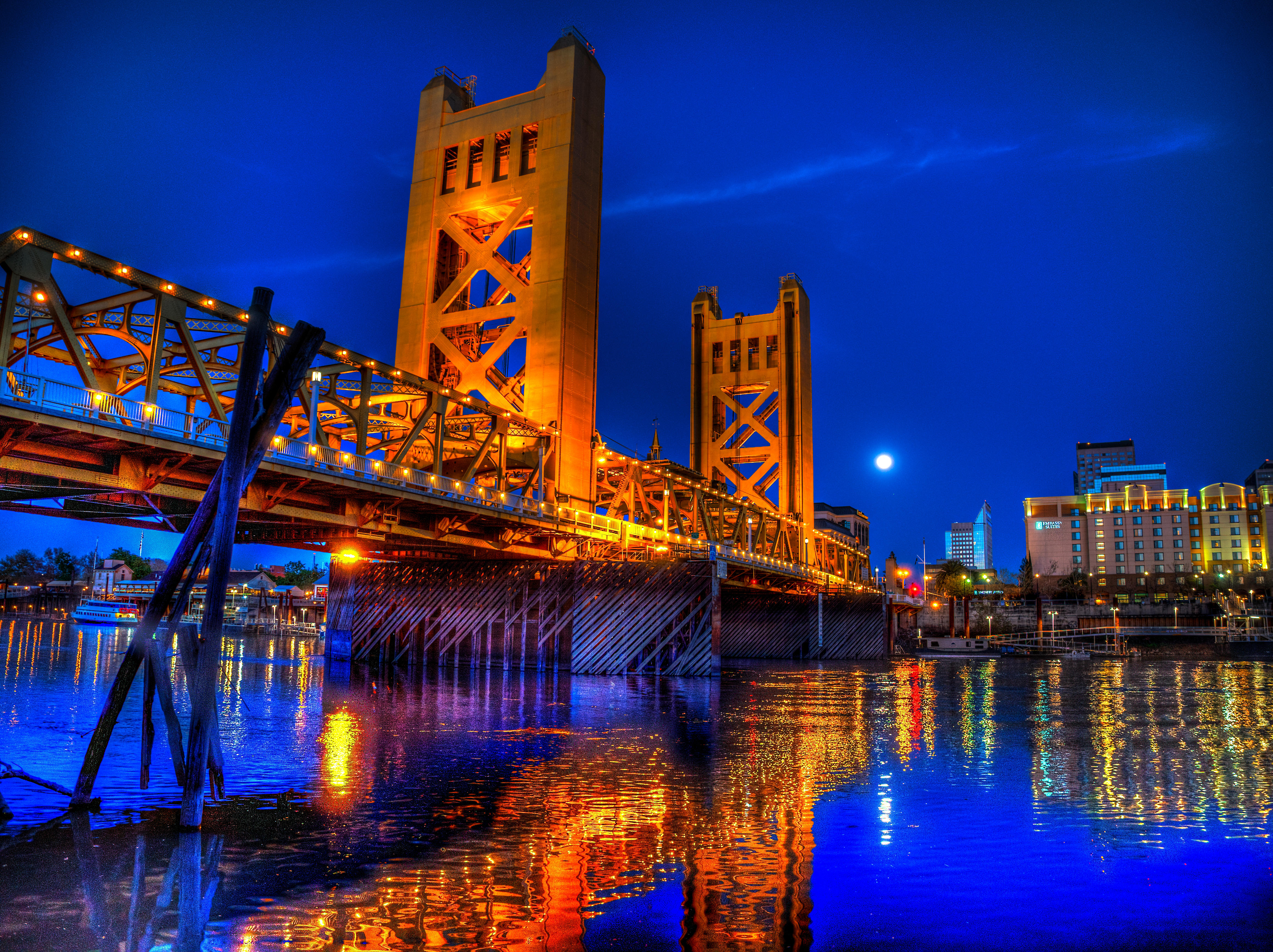 Обои Вечер Тауэрского моста, Сакраменто, Калифорния, Тауэрский мост