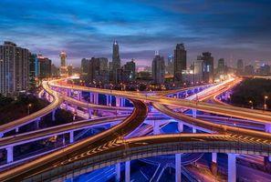 Бесплатные фото Городской эпицентр Шанхая,Шанхай,Китай,ночь,дороги,мосты,иллюминация