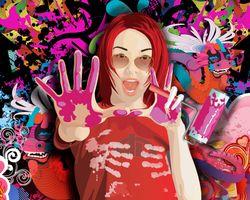 Фото бесплатно девушка, краски, валик, фон, Рендеринг, отрисовка, визуализация, wallpapers