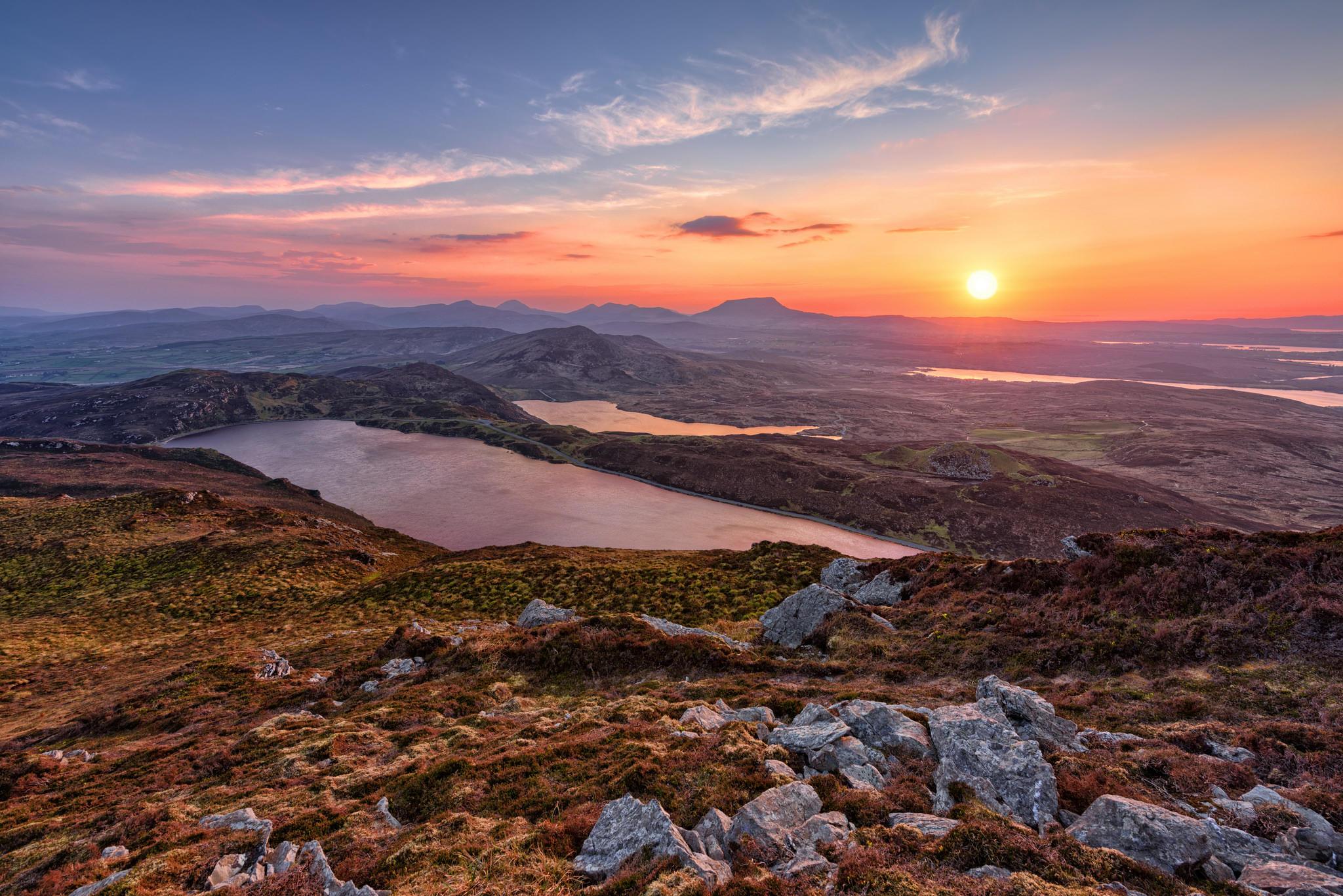 Обои суффолк Донегал, Ирландия, закат, озеро