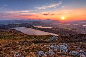 Заставки закат, озеро, Ирландия