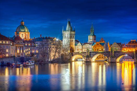 Заставки сумерки, Czech Republic, Charles bridge