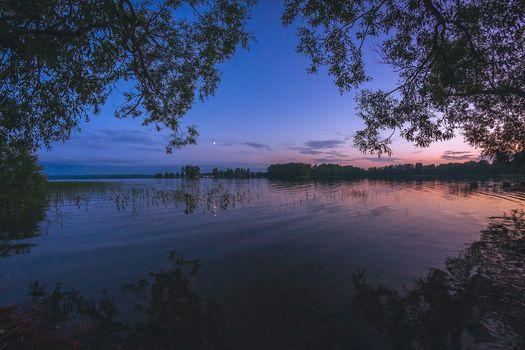 Заставки закат, сумерки, озеро