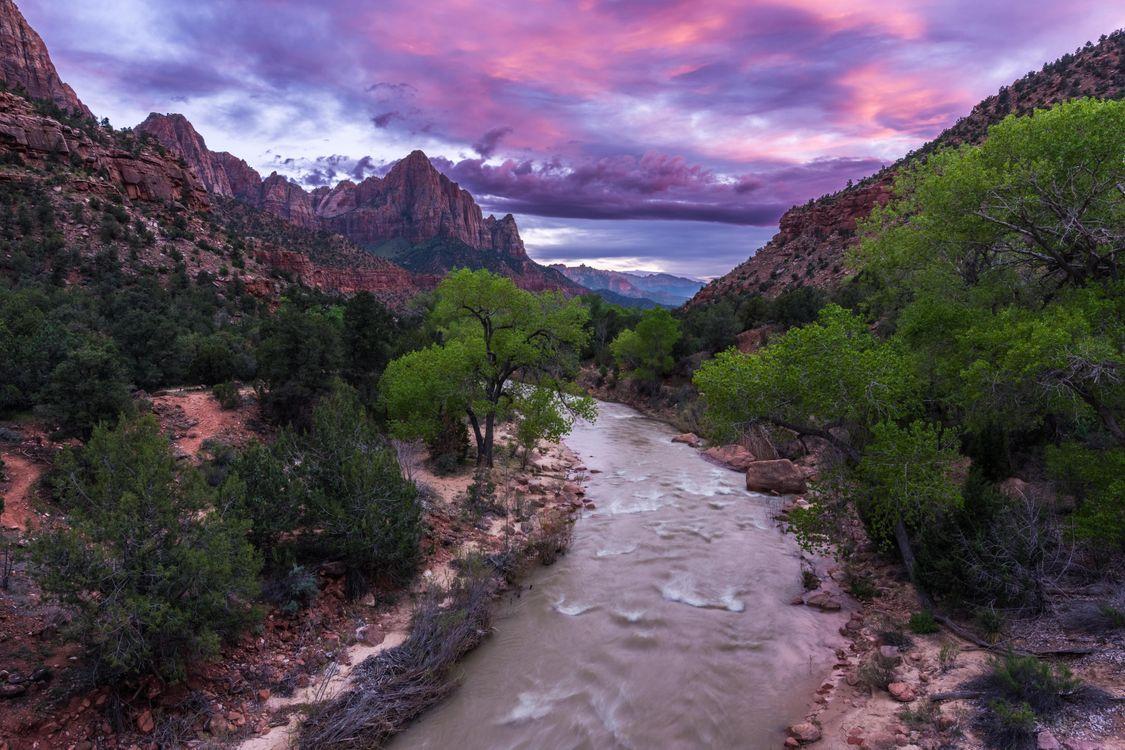 Обои Zion National Park, Национальный парк Зайон, Юта, США, закат, река, горы картинки на телефон