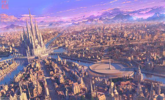 Фото бесплатно аниме городской пейзаж, Arsenixc, фантастический мир