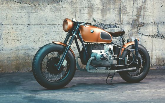 Photo free motorcycle, orange, BMW R80