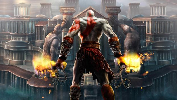 Photo free god of war, digital art, kratos